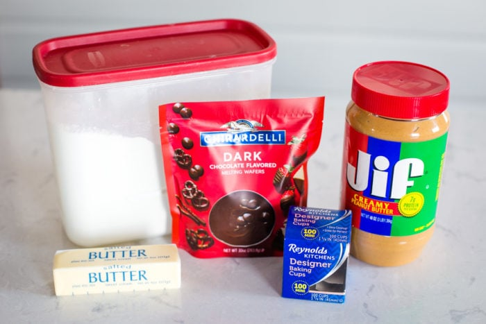 ingredients for homemade peanut butter cups