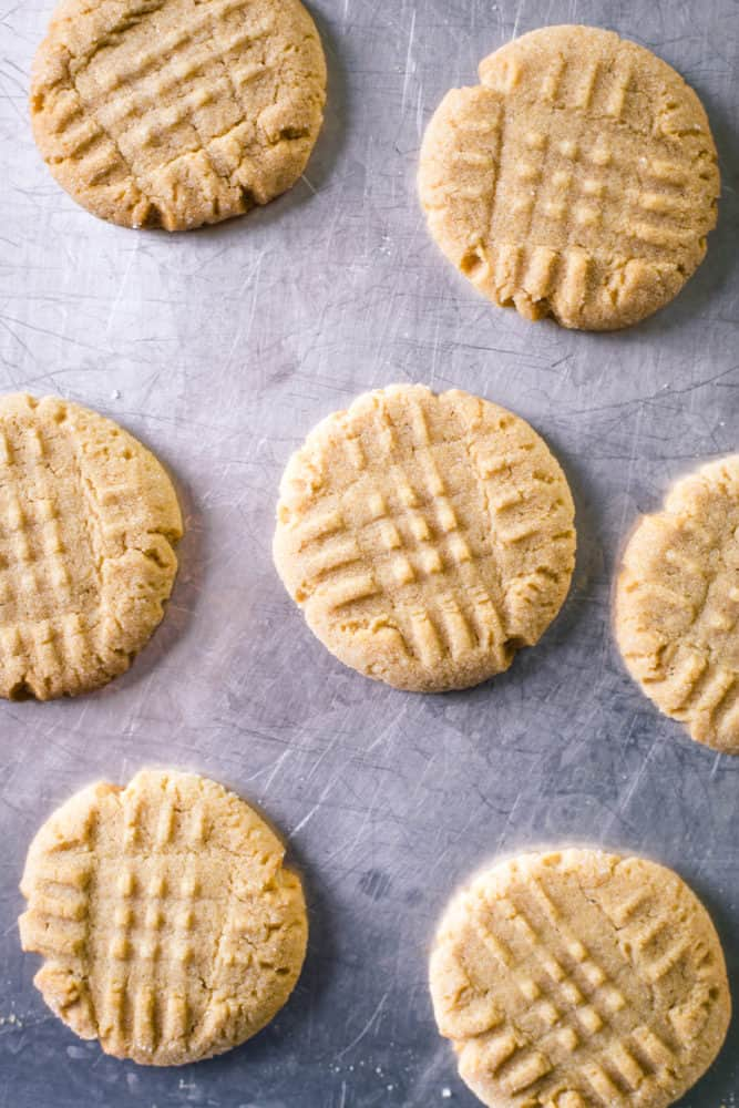 soft peanut butter cookies on baking pan