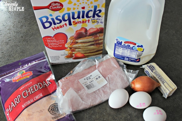 ingredients for quiche made with bisquick