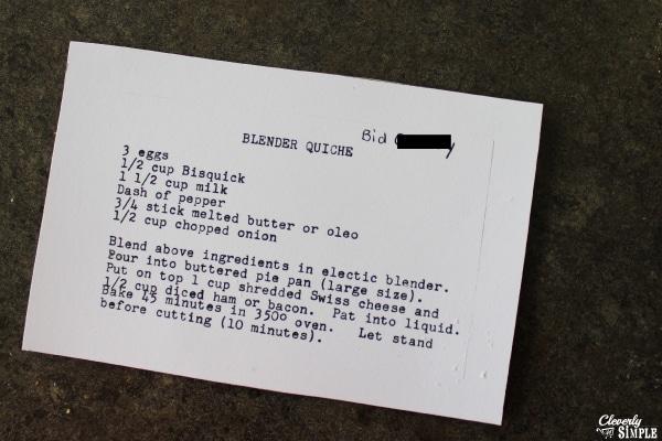 easy bisquick quiche recipe card