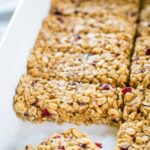Chew granola bars in pan