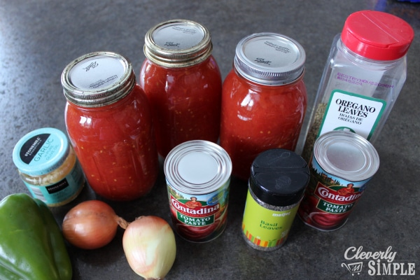 spaghetti sauce ingredients including canned tomatoes from the garden