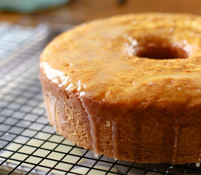 easy lemon cake on cooling wrack