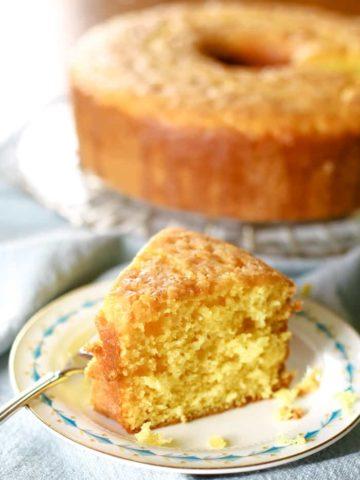 lemon cake on plate with fork