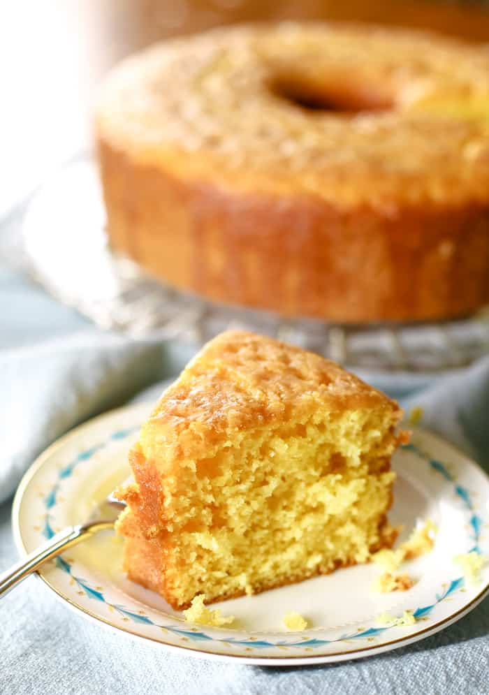 lemon cake on plate with fork