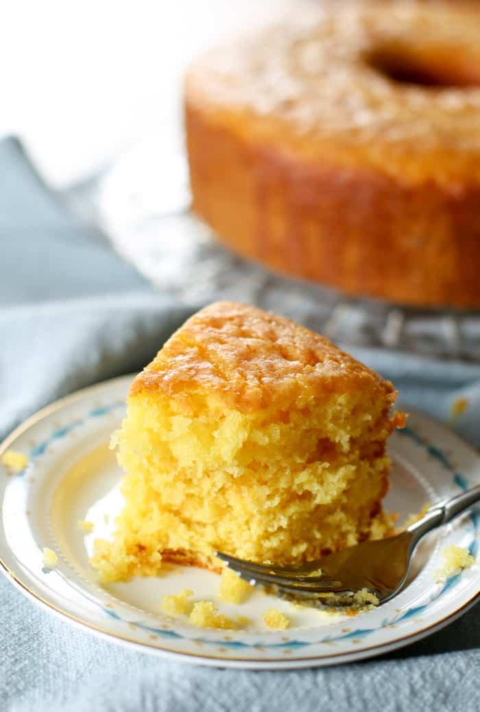 lemon cake recipe sliced on plate with fork