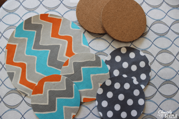 cut fabric out to make trivet and coaster