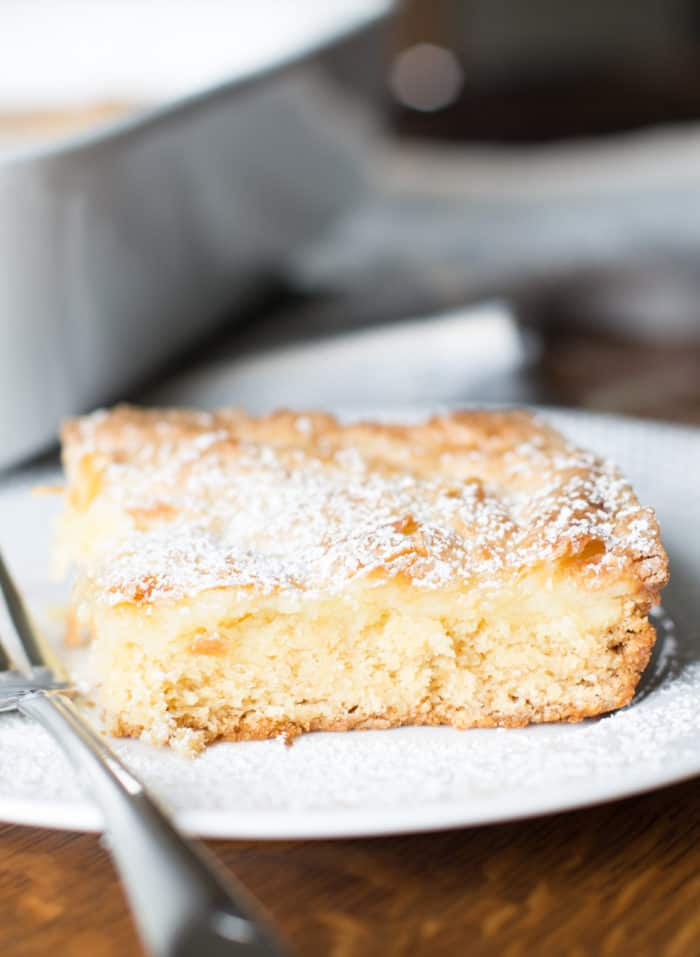 gooey butter cake from scratch on plate