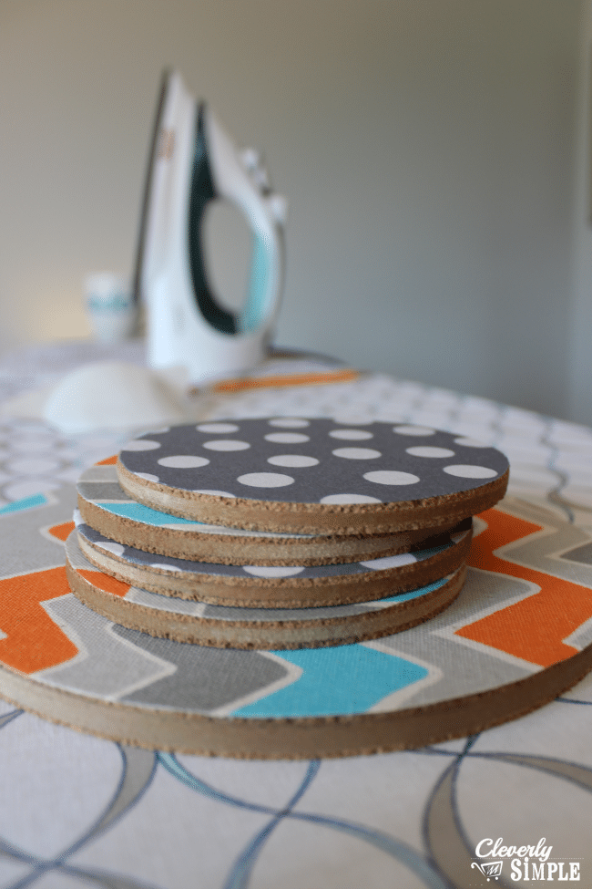 sides of cork trivet and coaster made with fabric
