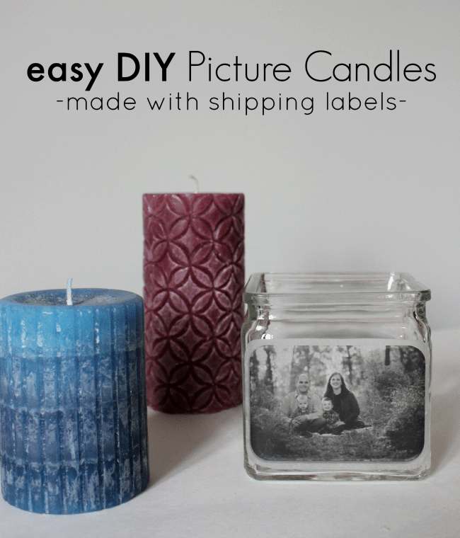 easy DIY picture candles made with shipping labels