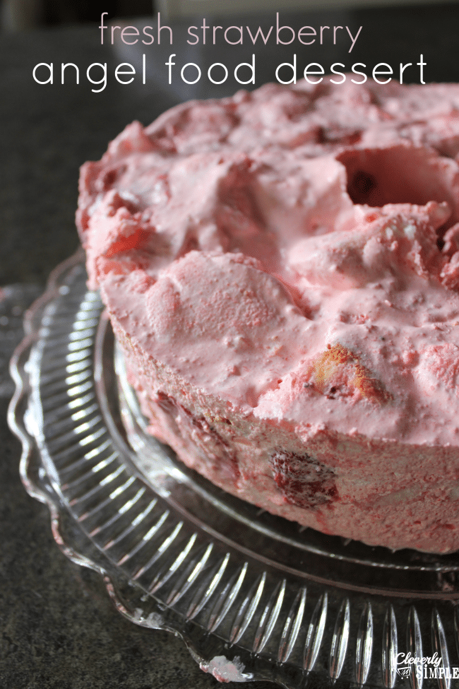 fresh strawberry dessert recipe made with angel food cake