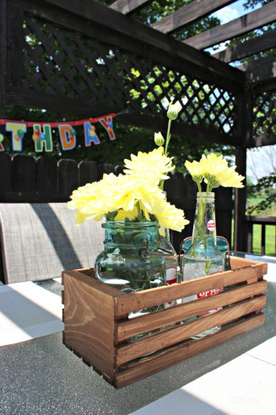 DIY centerpiece made with Dr Pepper bottles and ball jars #shop