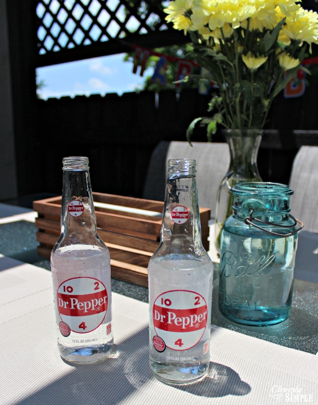 Gathering items to make centerpiece using Dr Pepper bottles #shop