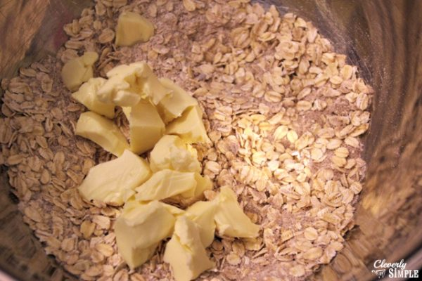 adding butter to make fruit crisp