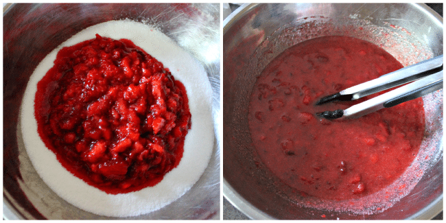 mixing the strawberries with the sugar for jam