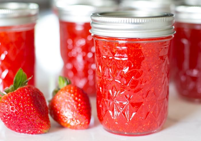strawberry freezer jam with strawberries