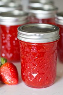 strawberry freezer jam in jar