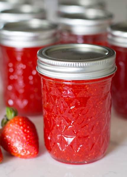strawberry freezer jam in jar