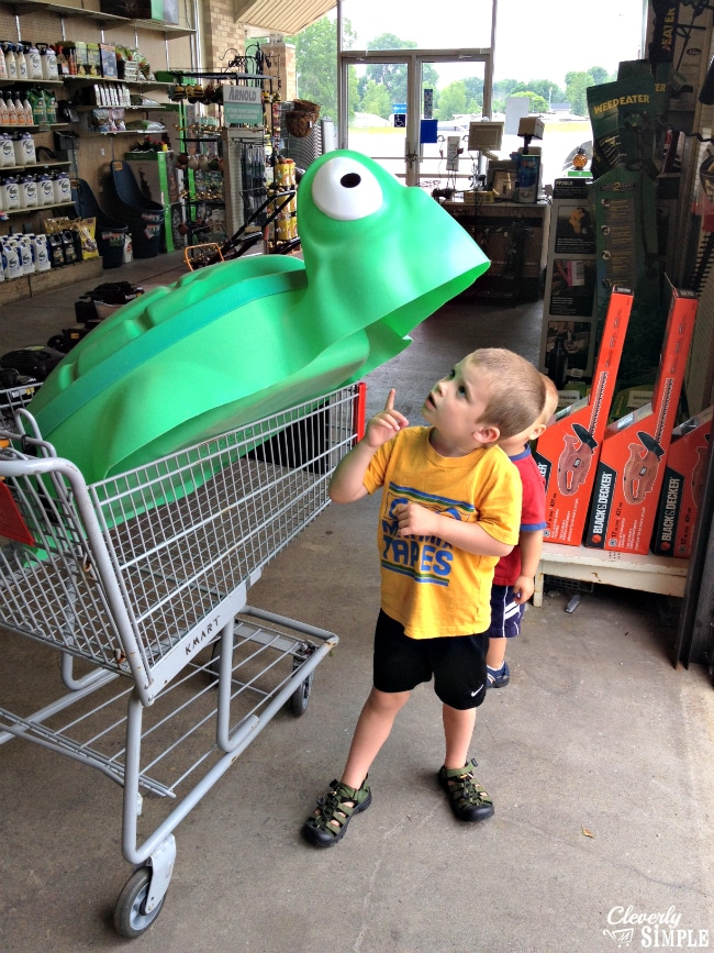 The kids checking out the turtle sandbox at Kmart #ad