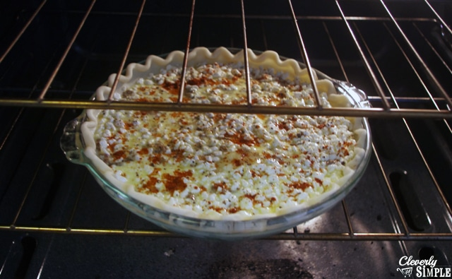 What hamburger savory pie looks like in the oven