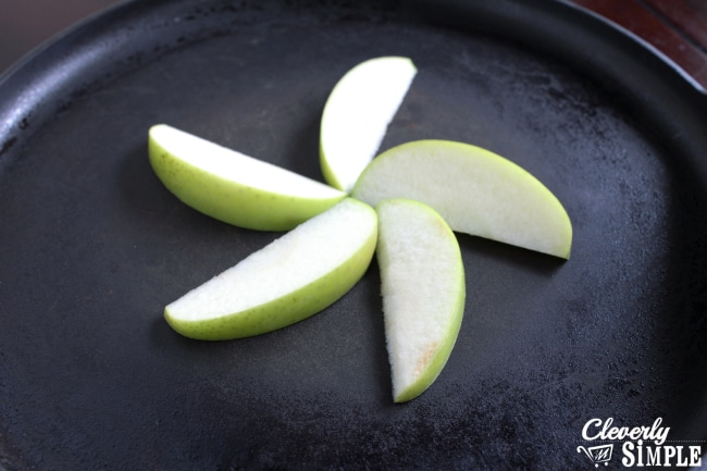 Apple Peels in Skillet for Homemade Apple Pancakes