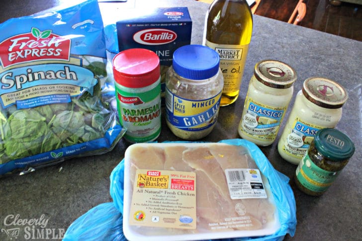 Ingredients for Chicken Spinach and Alfredo Chicken freezer Cooking