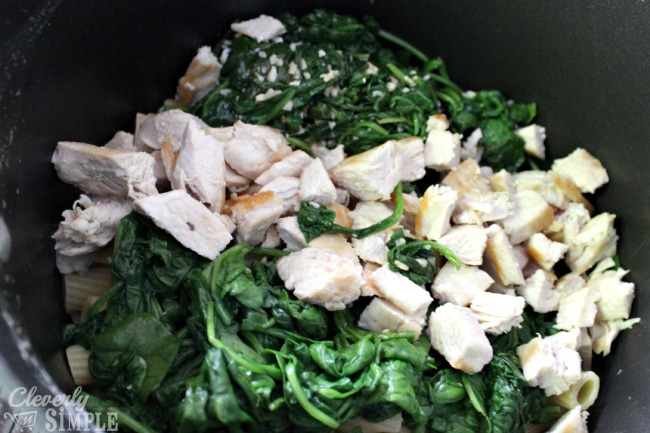 Mixing Spinach and Chicken with Garlic for Freezer Cooking Recipe