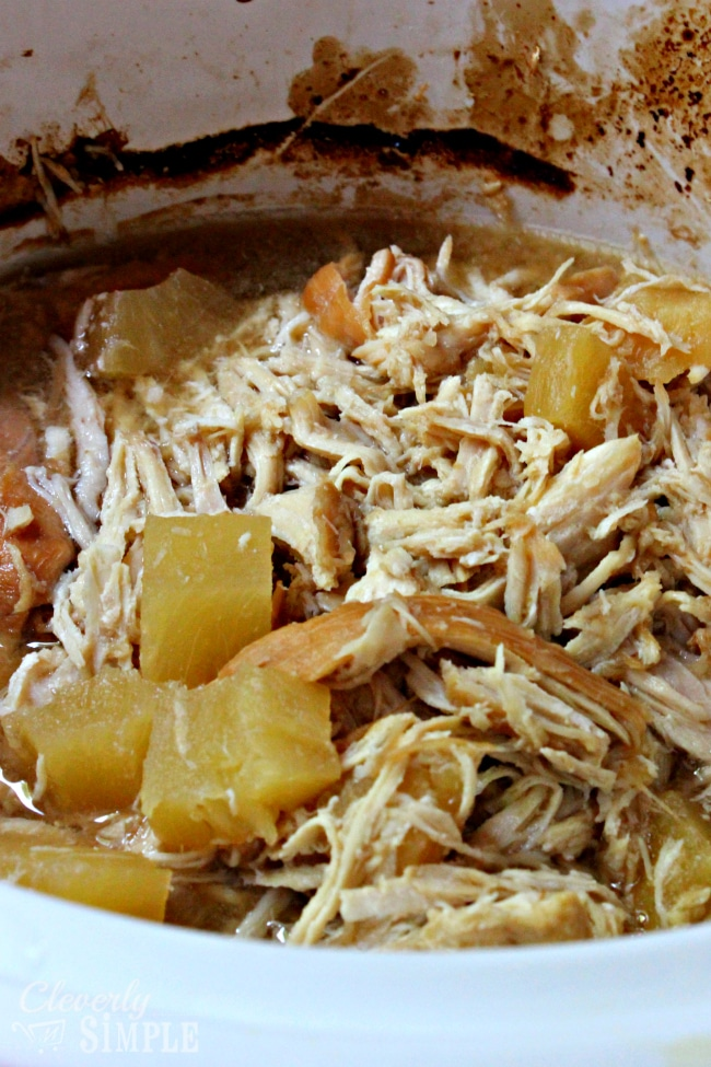 Shredded Pineapple Chicken Crockpot Meal