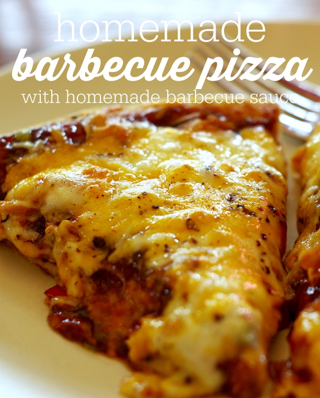 homemade barbecue pizza with homemade barbecue sauce