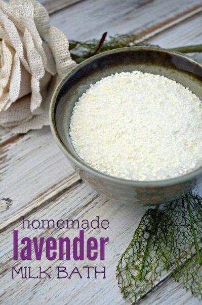 how to make homemade lavender milk bath gift idea