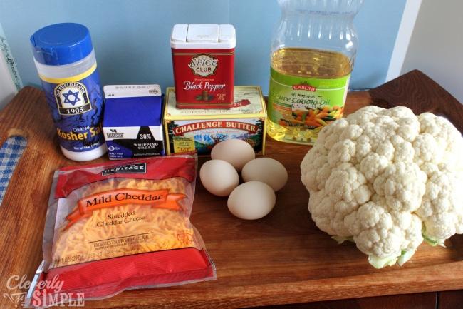 ingredients for Cauliflower Tots