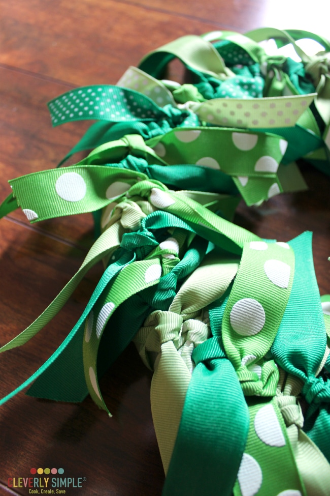 All the knots in the ribbon wreath