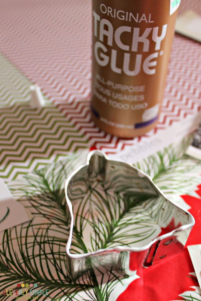 How to add glue to cookie cutter ornaments.