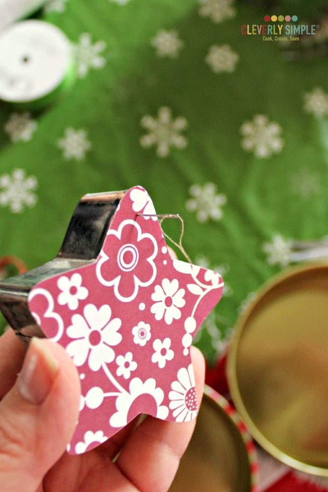 Stringing cookie cutter ornament