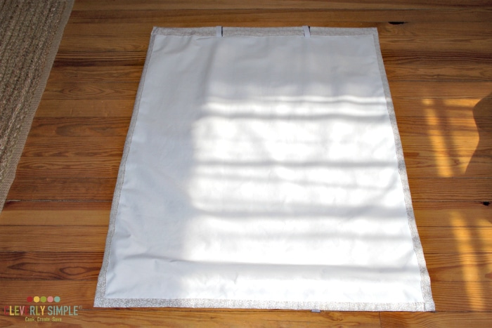 Back of Roman Shade that is easy to make