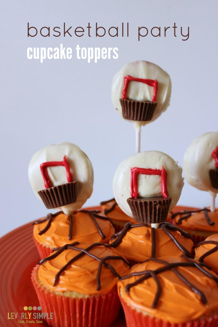homemade basketball party cupcake topper