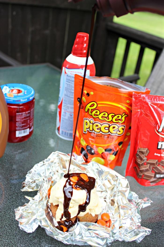 Syrup on Ice cream Sundae