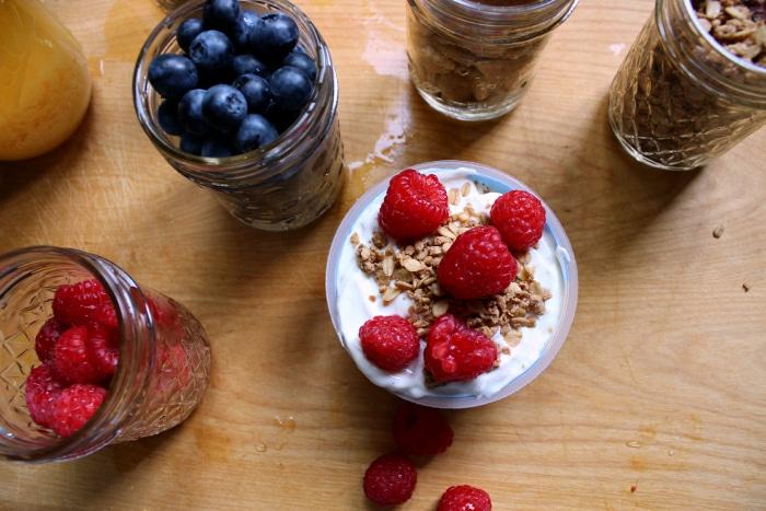add raspberries to yogurt