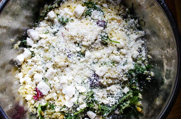 feta cheese on orzo salad