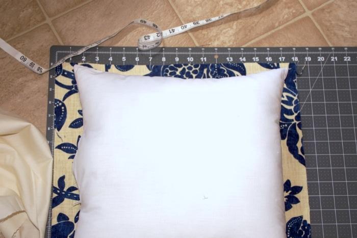 Measuring a pillow for a pillowcase