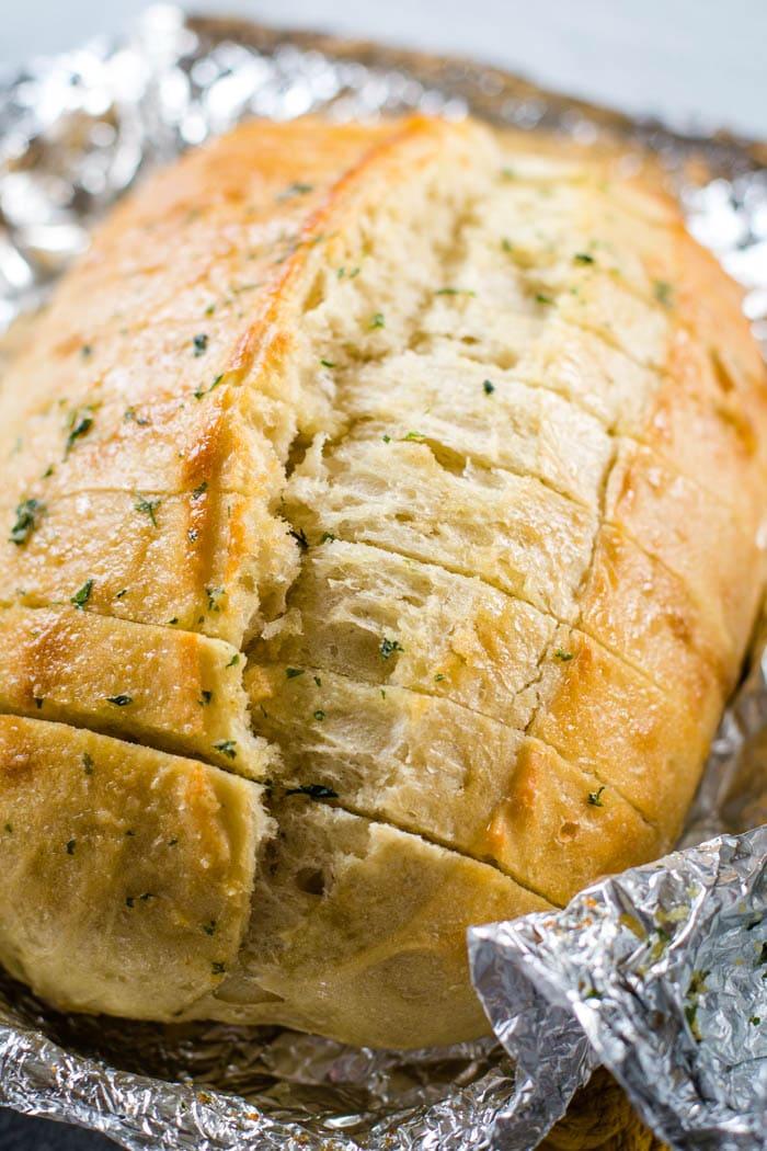 simple garlic bread in foil