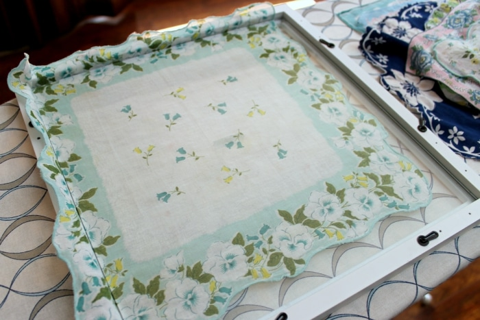 handkerchief overlay on glass