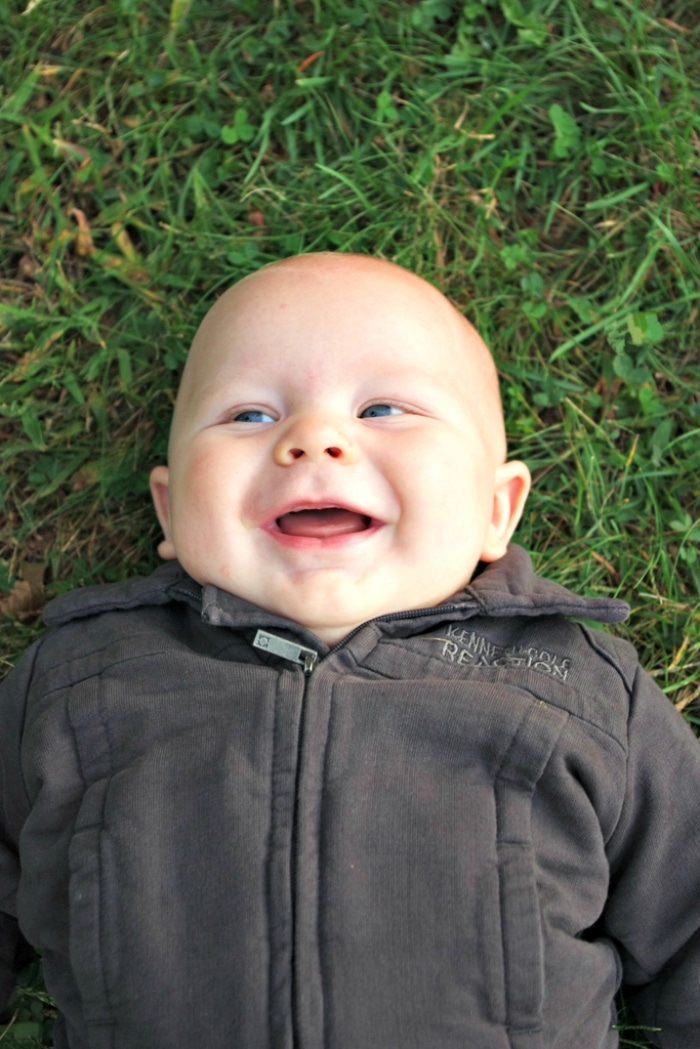 Levi laying in the grass