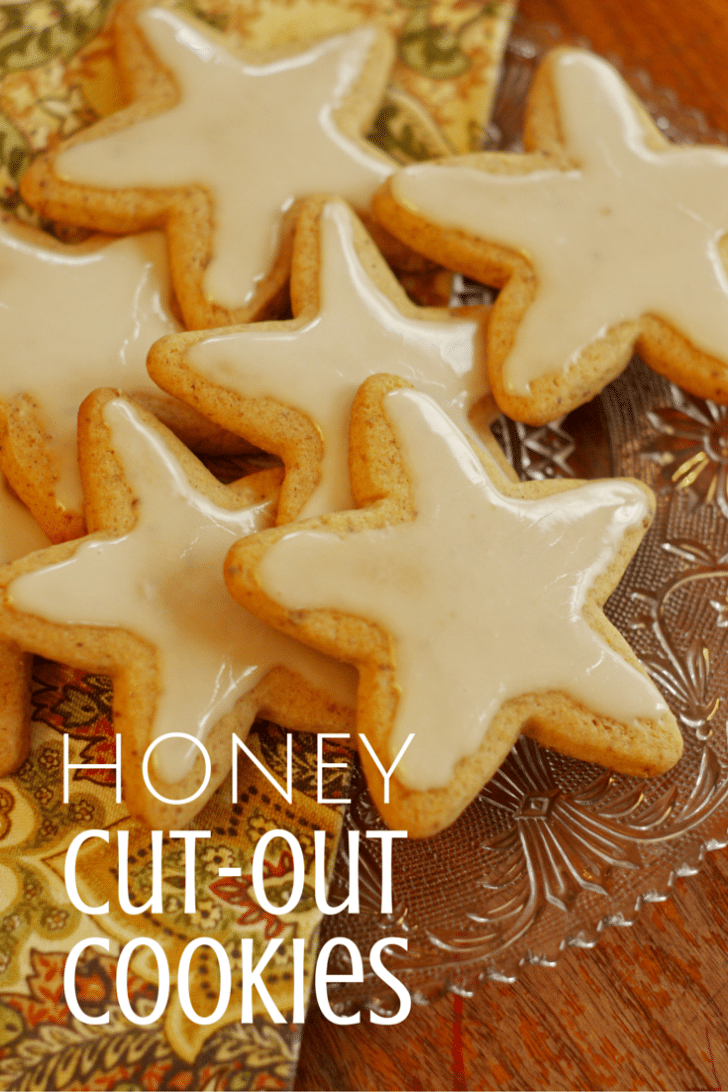 Honey Cut Out Cookies on a glass plate