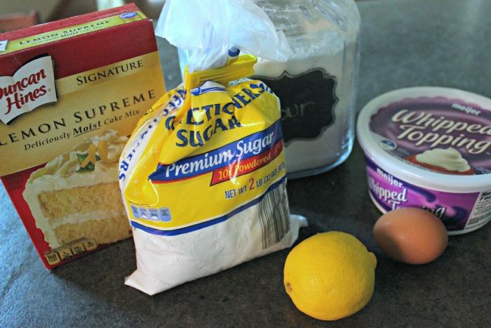 Ingredients for lemon cake mix cookie recipe