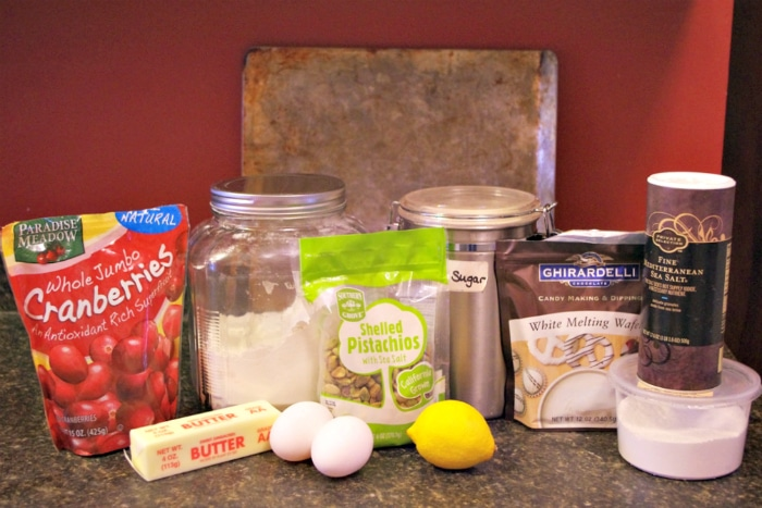 Ingredients to make Christmas biscotti