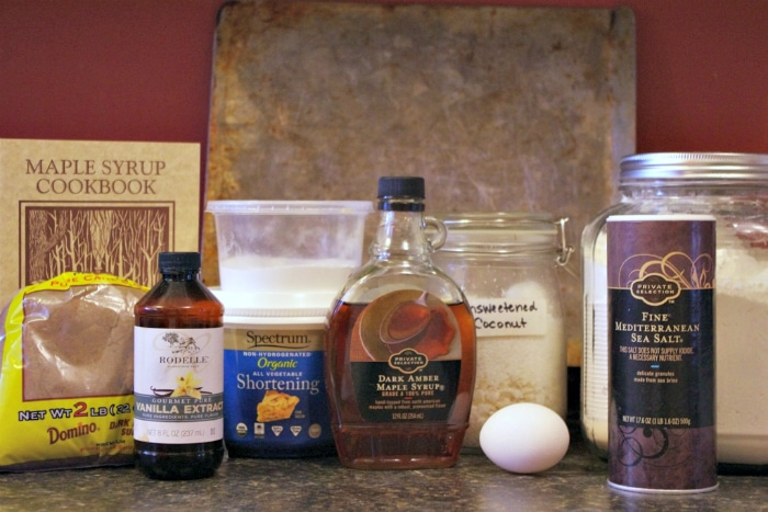 Ingredients to make chewy maple cookies