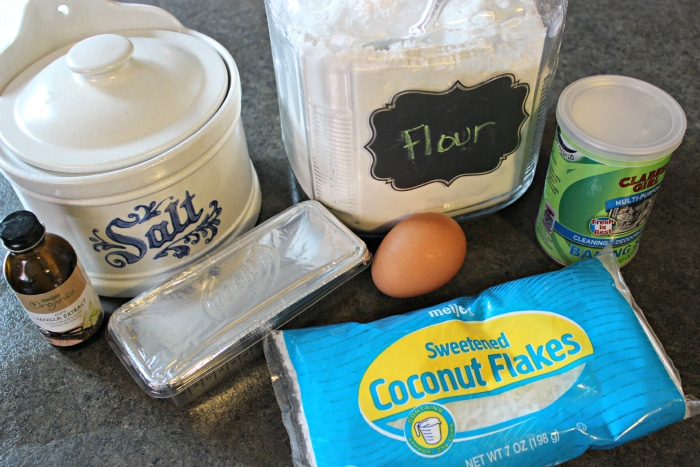 Ingredients to make coconut cookie recipe