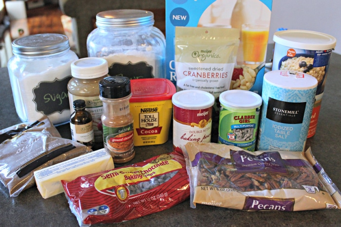 Ingredients to make healthy monster cookie recipe