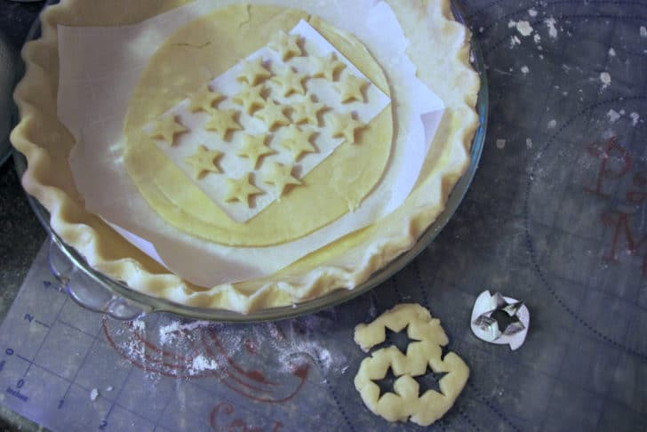 stars on top of a pie